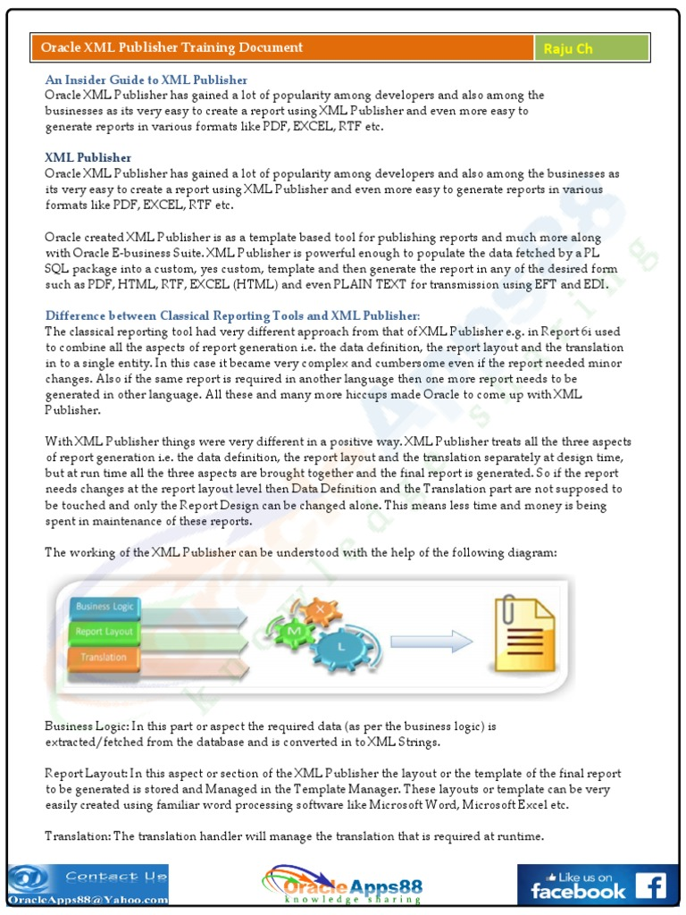 Oracle XML Publisher Training Document | Pl/Sql | Xml