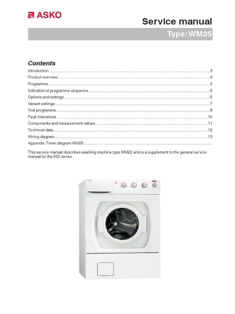 Asko Service Manual WM25 | Washing Machine | Electrical Resistance And  Conductance