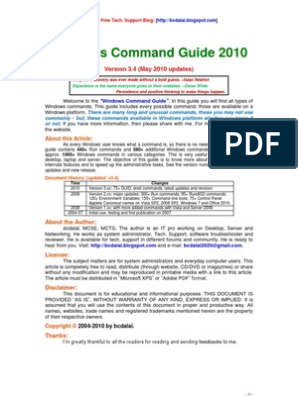 Windows Command Guide 2010 | Ip Address | Domain Name System
