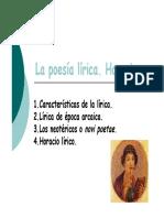 La Poesía Lírica. Horacio.