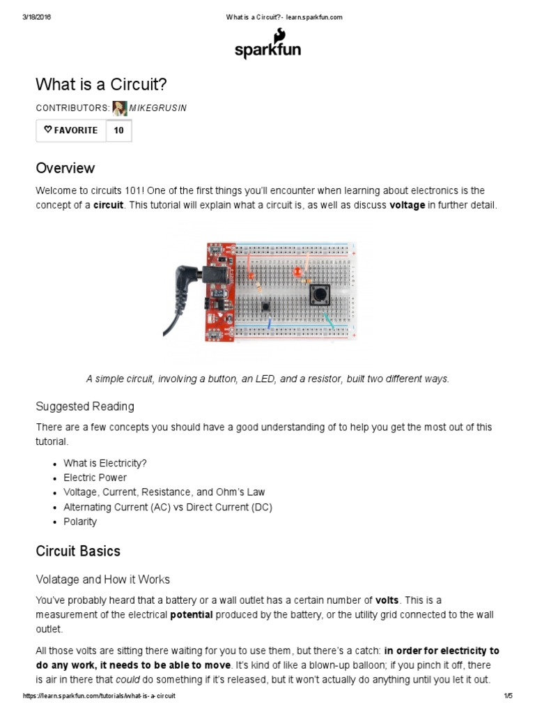 What Is A Circuit Learnsparkfun Voltage Electric Current Series Parallel Batteries Tutorial Circuits