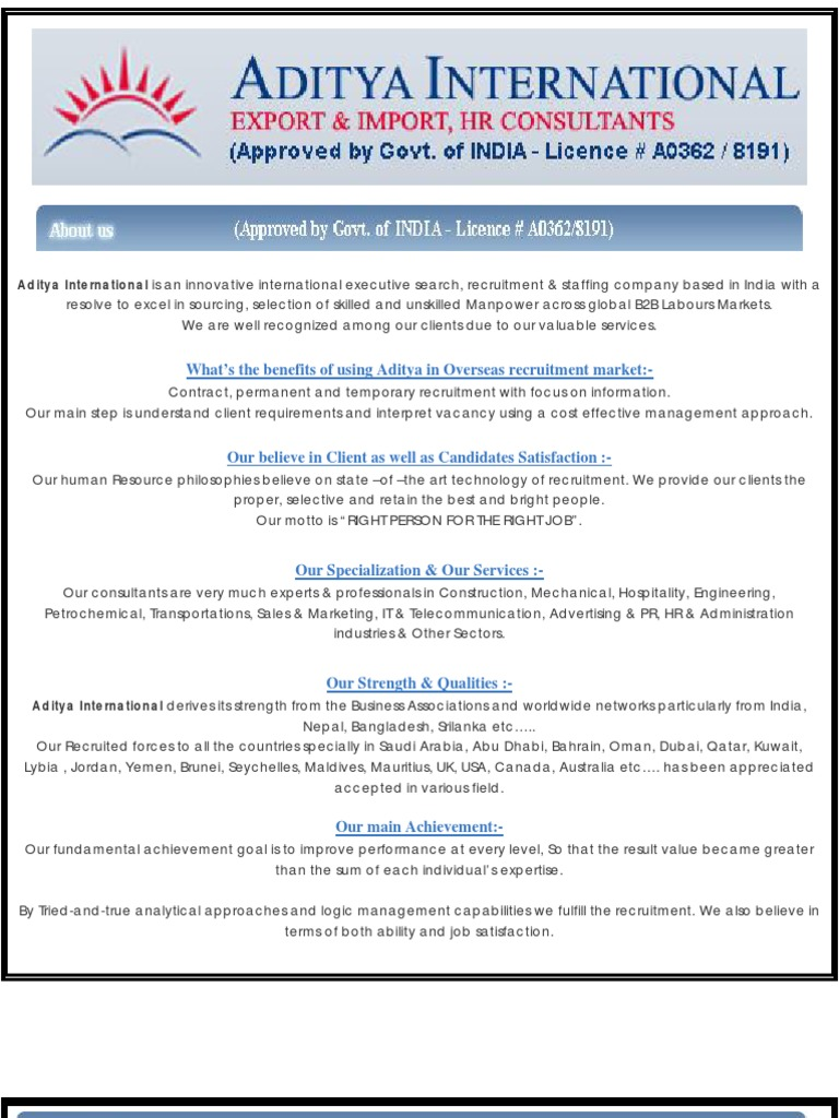 Aditya International - Recruitment , Overseas Manpower Consultancy