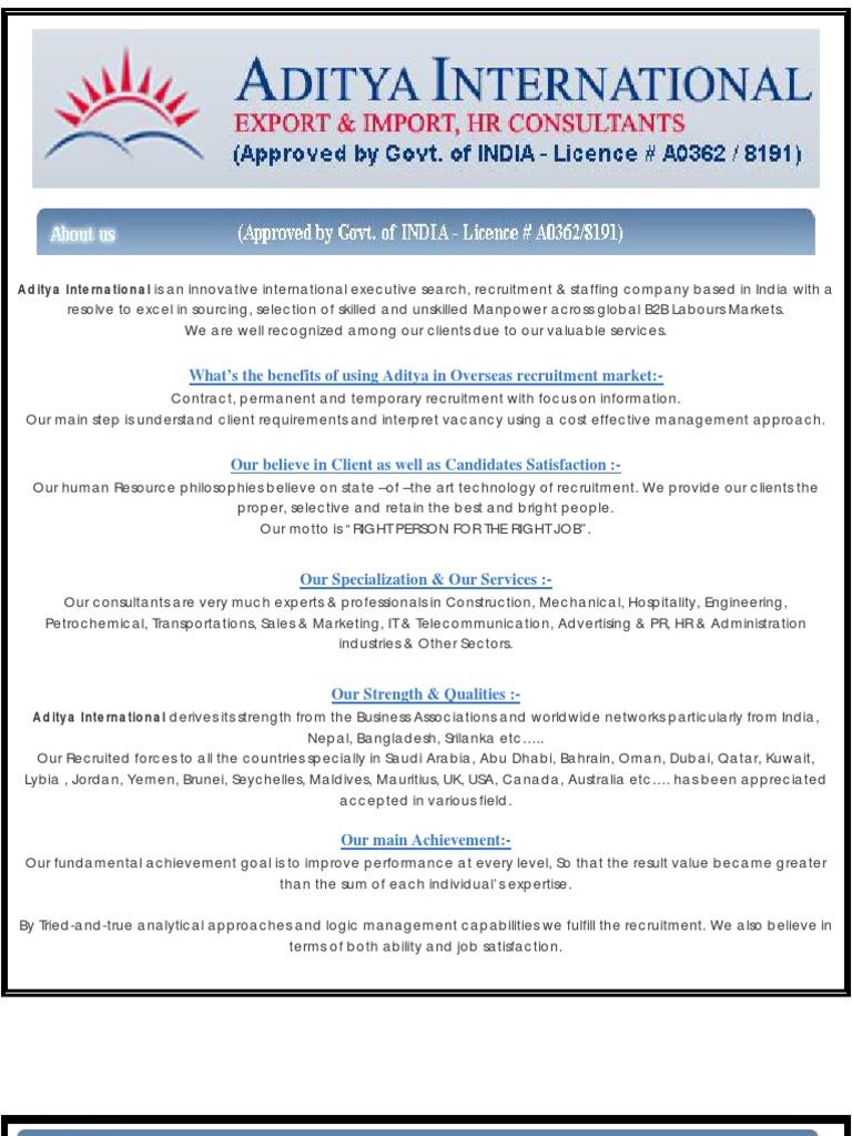 Aditya International - Recruitment , Overseas Manpower