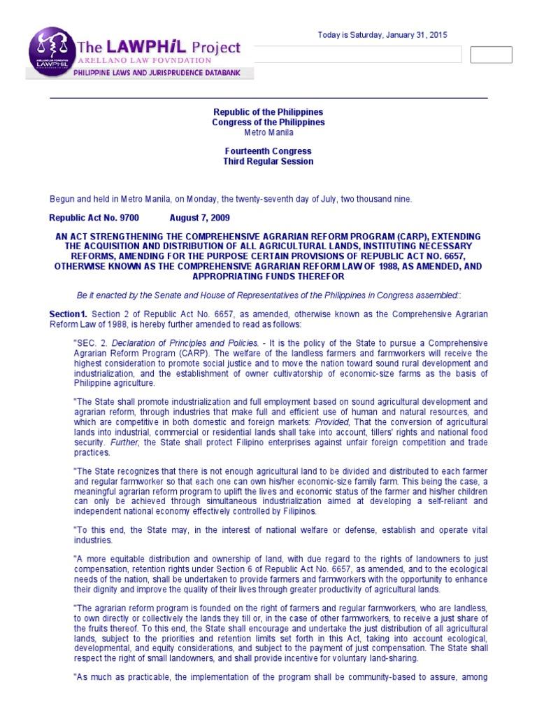 comprehensive land reform law