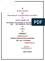 Profitability Operational Efficiency of HDFC Bank Ltd