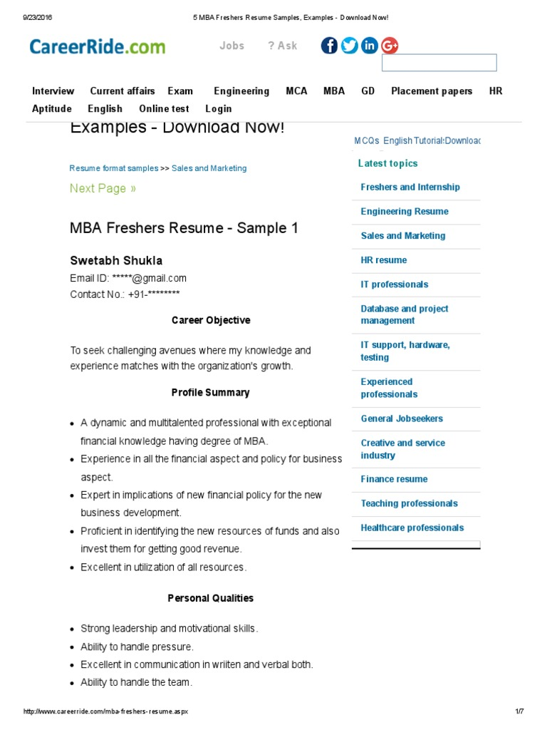 5 Mba Freshers Resume Samples Examples Download Now Pdf