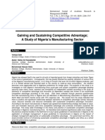 Gaining and Sustaining Competitive Advantage a Study of Nigeria's Manufacturing Sector