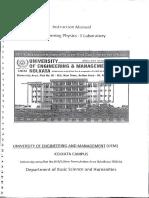 Instruction Manual — Engineering Physics-1 Laboratory [UEMK] [2016]