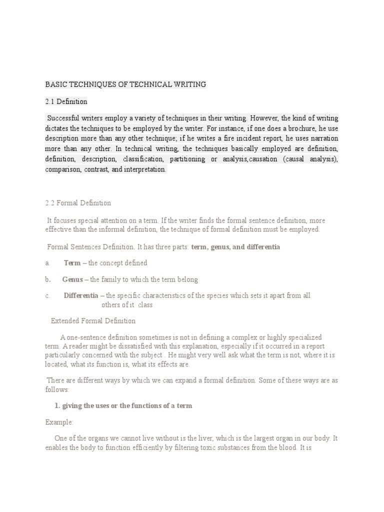 informal definition in technical writing