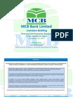 MCB Bank Limited Nine Months Results - September 2015 Presentation