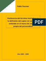Pablo Peusner - Pertinencia Del Término Immixtion...