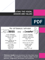 ARTICULATING THE VISION, MISSION AND VALUES.pptx