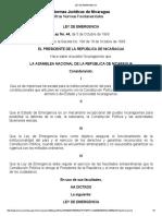 Ley de Emergencia Nicaragua