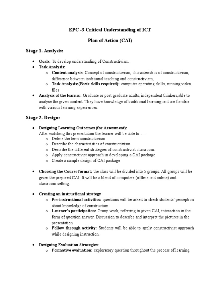 Addie Based Plan Of Action On Constructivism Sz Constructivism Philosophy Of Education Lesson Plan