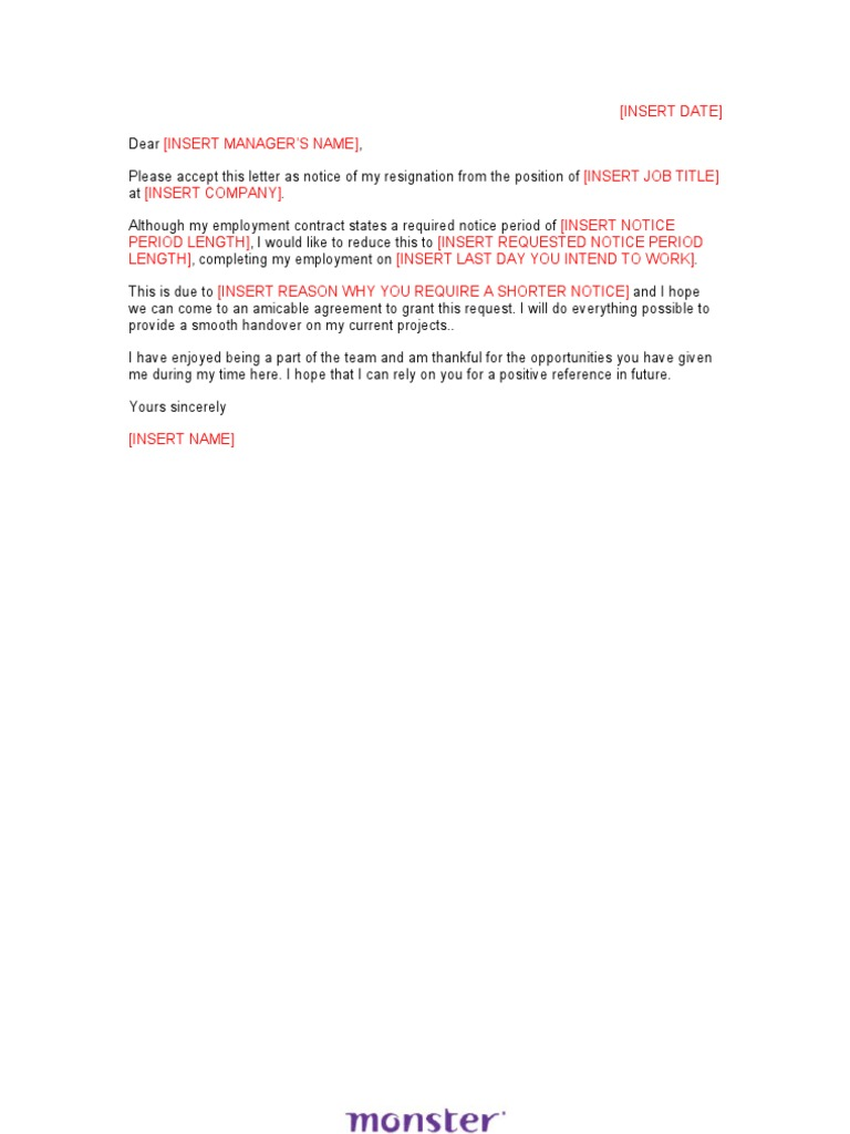 resignation letter sample shorten notice