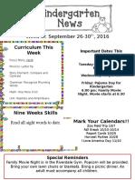 Newsletter Sept. 26