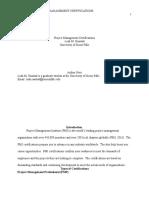 Project Management Certifications Paper