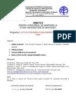 Tematica Masterat CIMA 2016