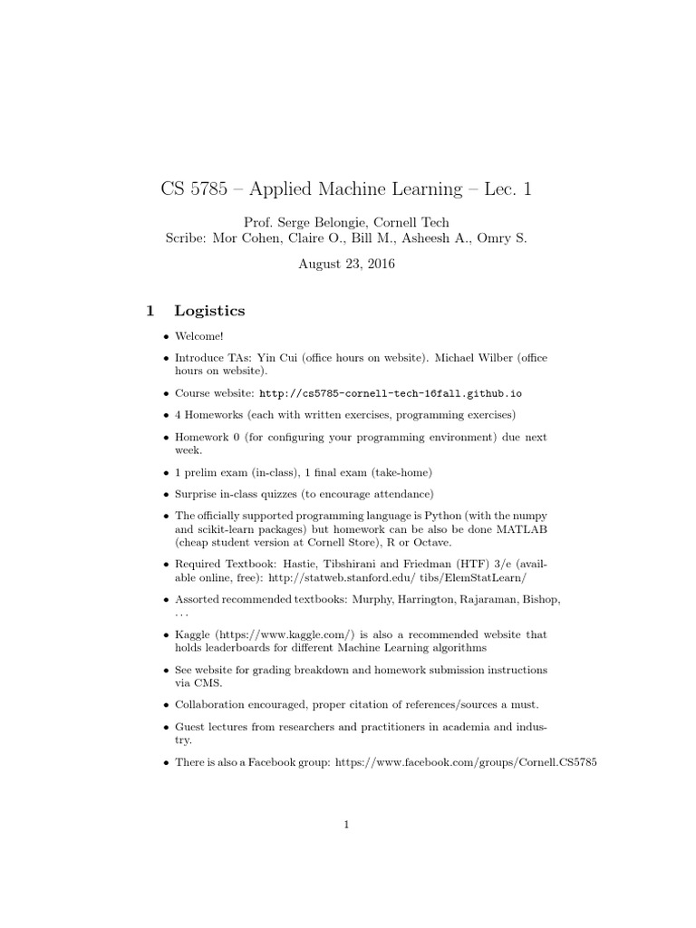 CS 5785 – Applied Machine Learning – Lec  1: 1 Logistics