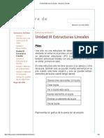 Unidad III Estructuras Lineales - Estructura de Datos