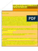 Vigencia Del Modelo Sindical Argentino y El Debate de La Libertad Sindical