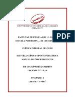 Historia Clínica Odontopediátrica-manual de Procedimientos
