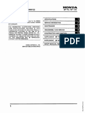 Honda BF75 BF100 Outboards Service Manual | Ignition System | EnginesScribd