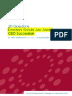 20 Questions Directors Should Ask About CEO Succession