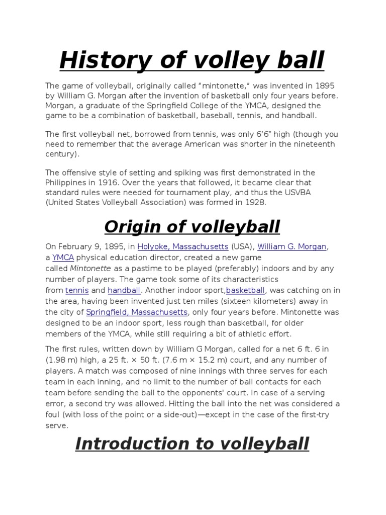 History Of Volley Ball Volleyball Games Of Physical Skill