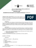 PAU Murcia Matemáticas CCSS 09/09