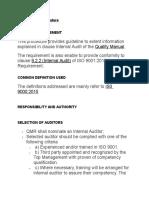 Internal Audit ISO 9001:2015 Procedure