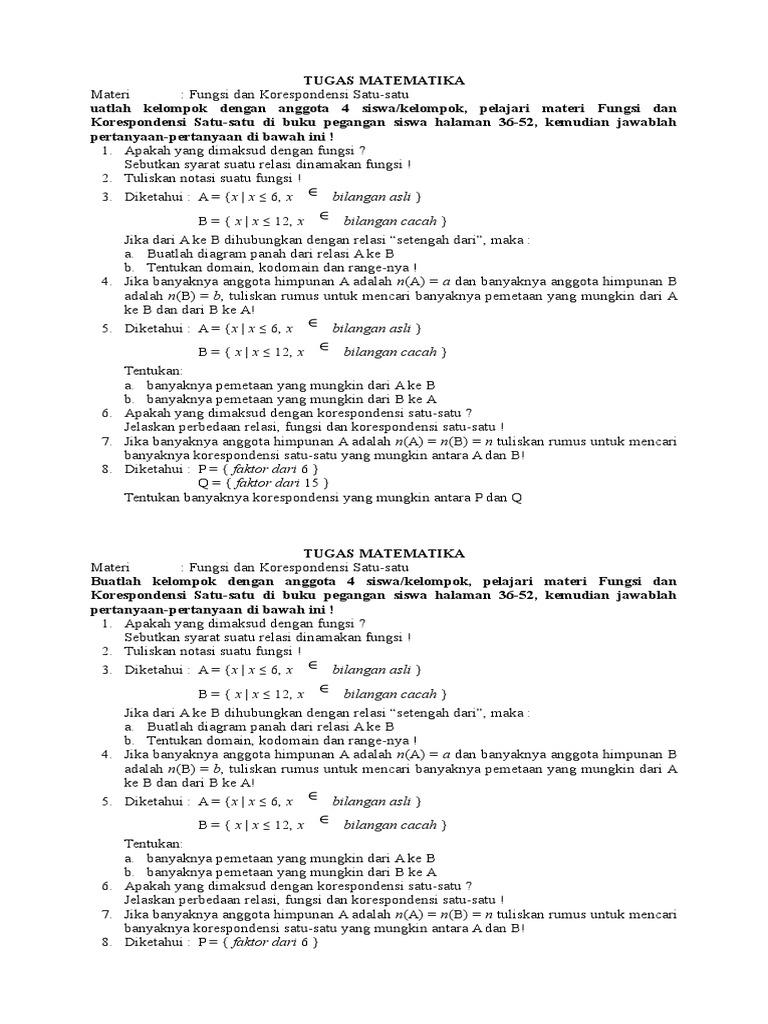 Tugas matematika fungsi dan korespondensi ccuart Gallery