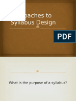 Approaches to Syllabus Design