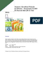 Workshop Dokumen Akreditasi Rumah Sakit Program Khusus