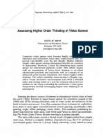 Assessing Higher Order Thinking in Video Games