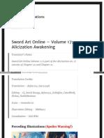 Sword Art Online 17 Alicization Awakening