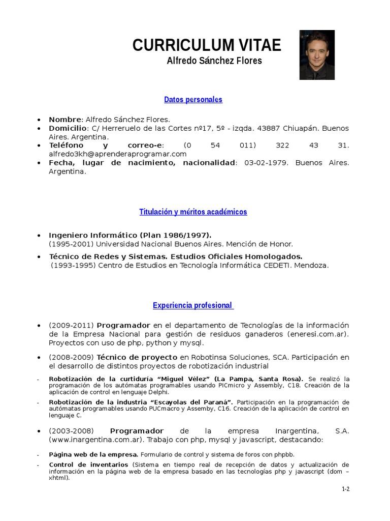 Increíble Formato De Curriculum Vitae Php Programador Molde ...