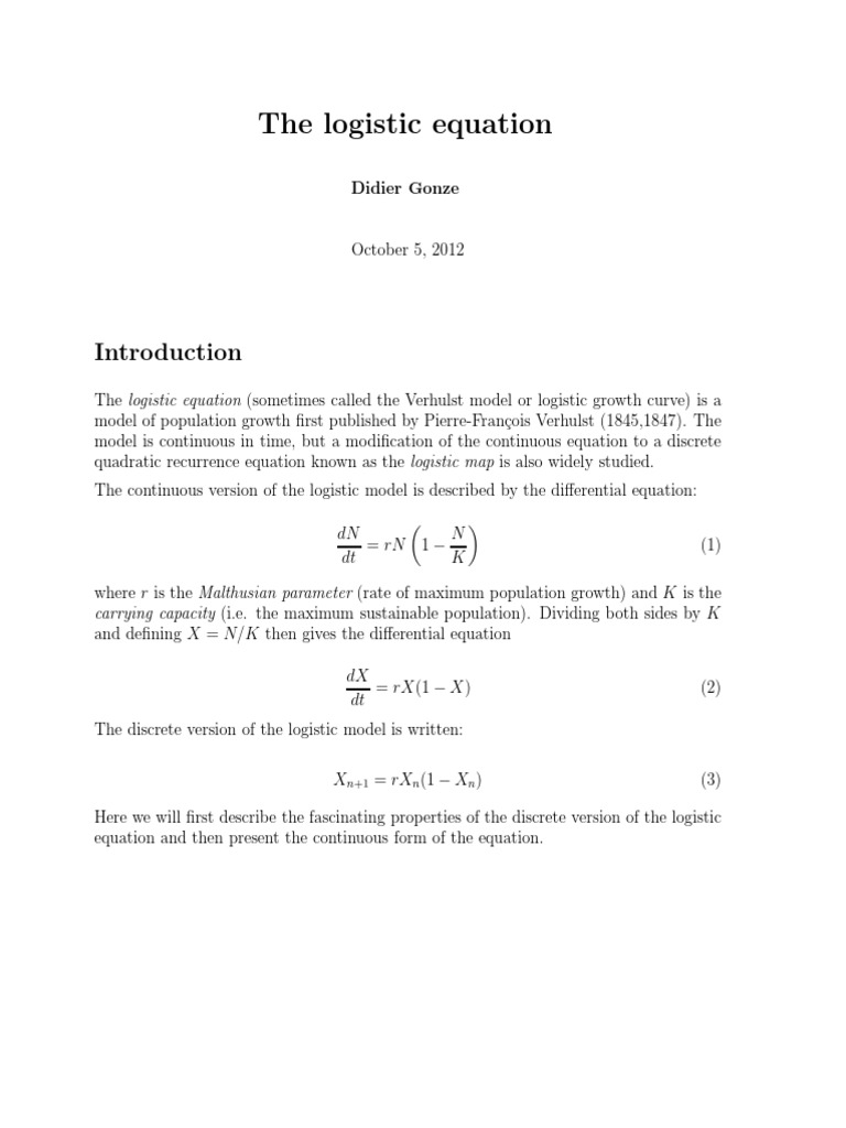 logistic equation   chaos theory   attractor