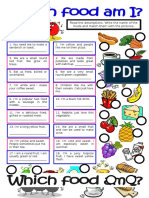Which Food Am I Worksheet For Kids