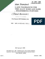 2826 - Dimensions & Tolerances for Cu & Cu Alloy Rods & Bars