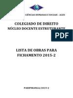 Lista de Obras Fichamento 2015 2