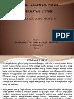 1.Penerapan Manajemen Energi Pada Peralatan Listrik 2016