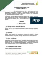 Lineamientos Formulacion de Plan de Negocios Convocatoria de Capital Semilla 2015