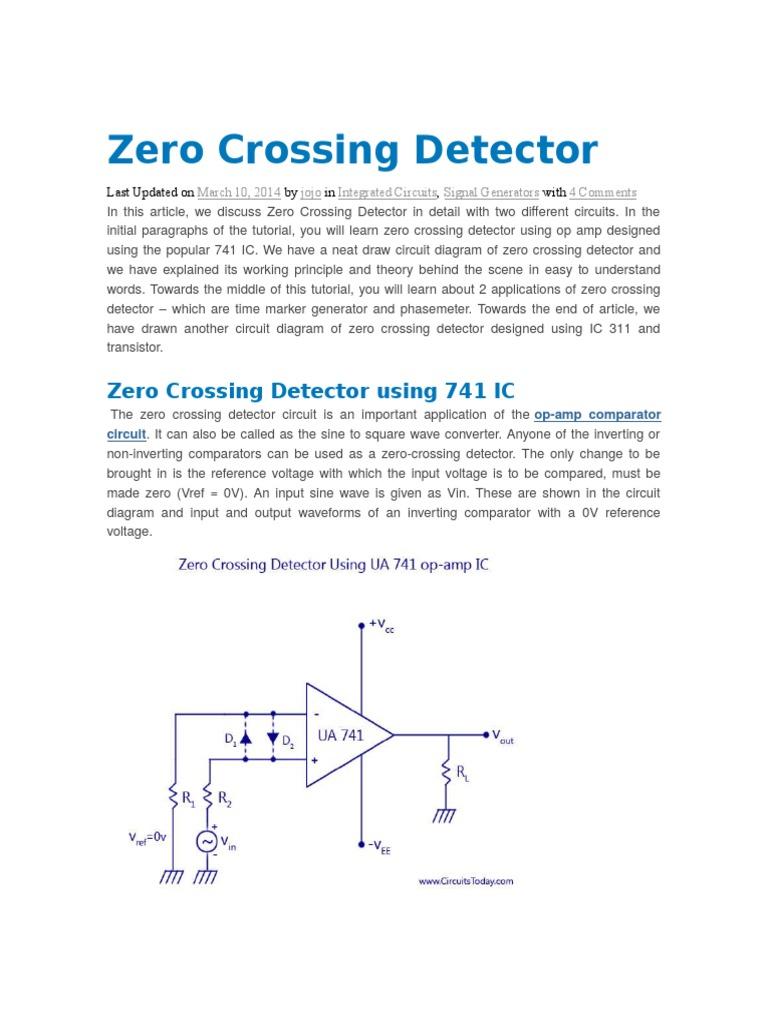 Zero Crossing Detector Operational Amplifier Radio 741 Op Circuit Diagrams