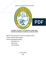 Diseño Tecnico y Economico Para Una Platanta de Produccion de Leche de Soya
