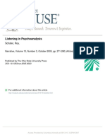 Shafer, Listening in Psychoanalisis