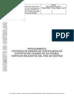 Procedimiento Criterio de Emision de Certificados de Exportacion