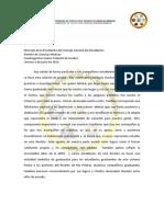 Mensaje de La Presidenta del Consejo General de Estudiantes RCM