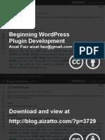 Beginning WordPress Plugin Development