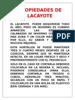 Propiedades de Lacayote